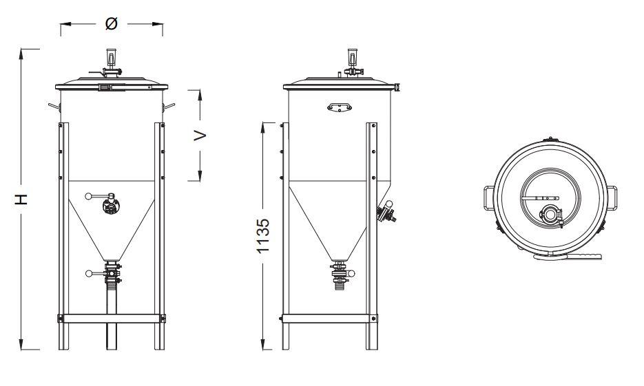 Schéma technique fermenteur avec dimensions