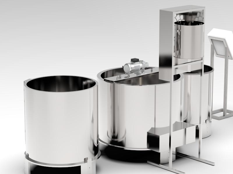Station microbrasserie avec 3 cuves eau chaude, empatage et ébullition + armoire contrôle - Chauffage ELECTRIQUE