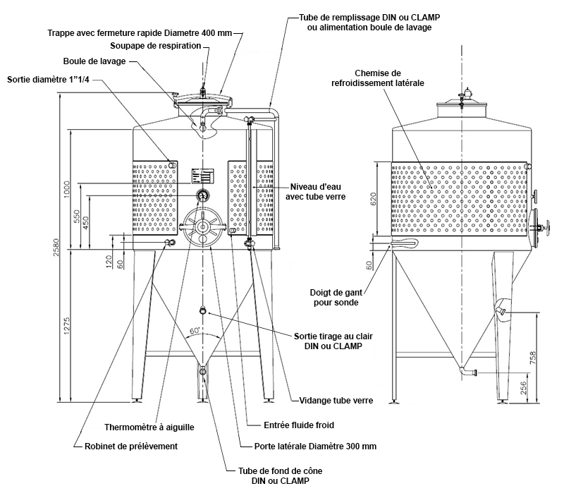 dimensions fermenteur biere 1000 litres avec porte