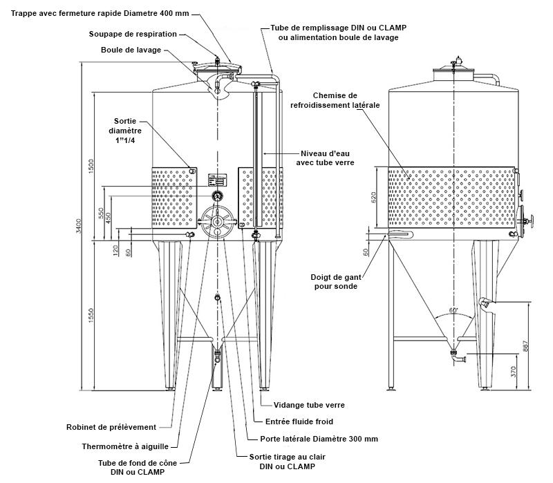 dimensions fermenteur biere 2000 litres