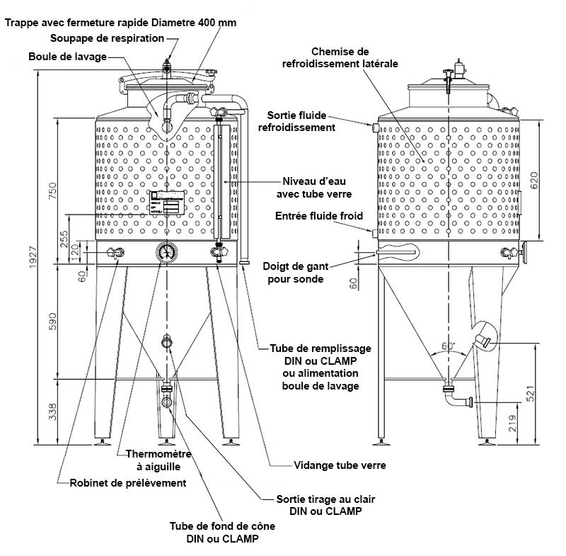 dimensions fermenteur biere 300 litres