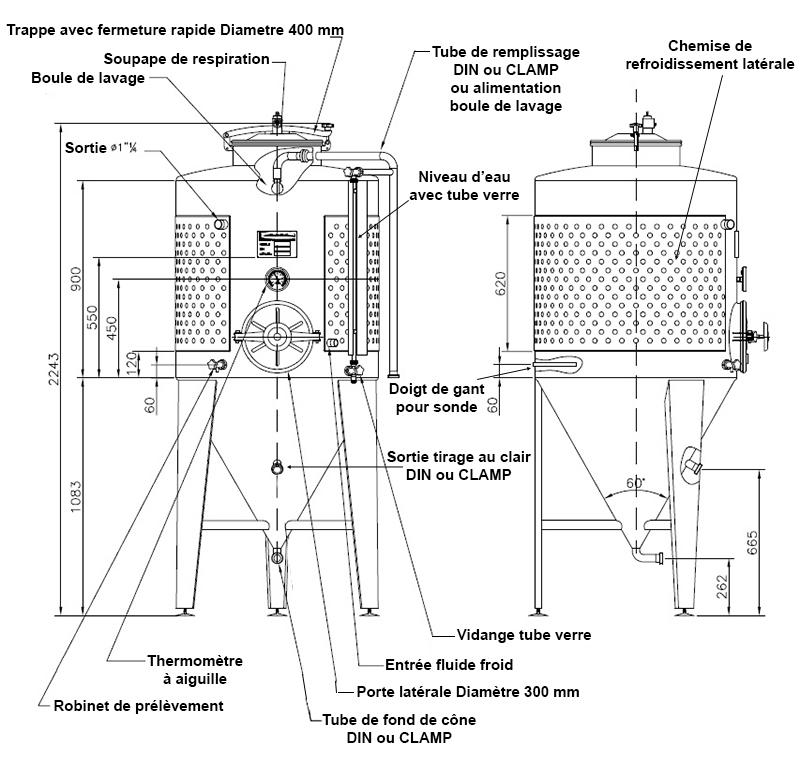 dimensions fermenteur biere 600 litres