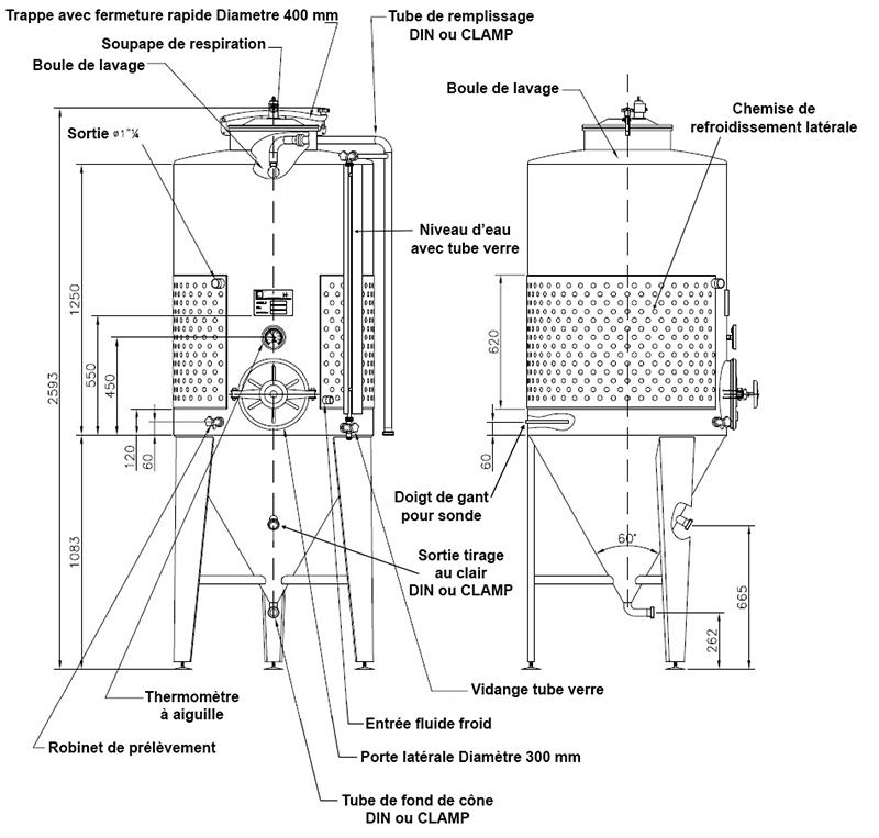 dimensions fermenteur biere 800 litres avec porte