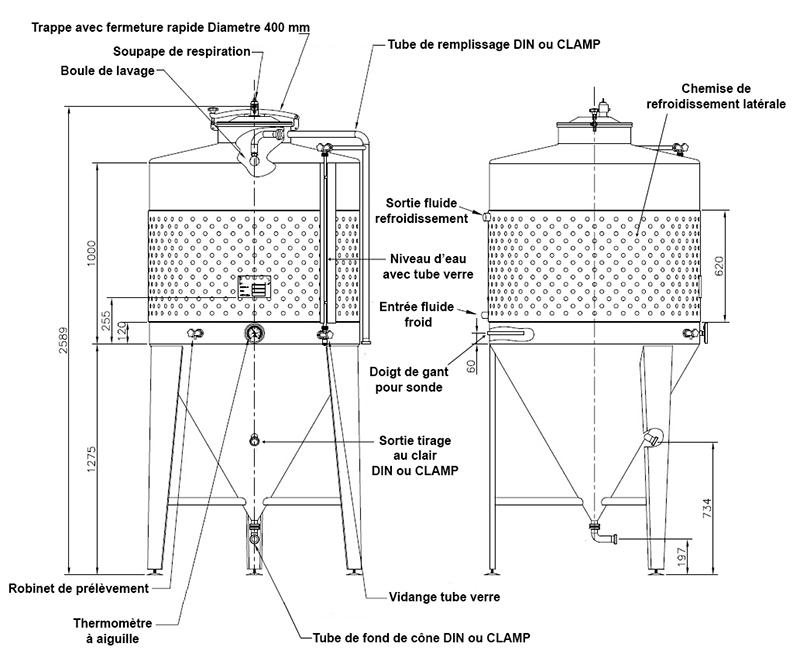 dimensions fermenteur biere 800 litresstandard